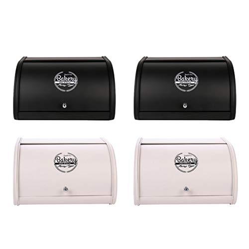 F Fityle 4 pcs Contenedor de Pan Moderno, Panera de Hierro Color Negro + Blanco