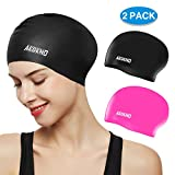 Aegend Swim Caps for Long Hair (2 Pack), Black Pink