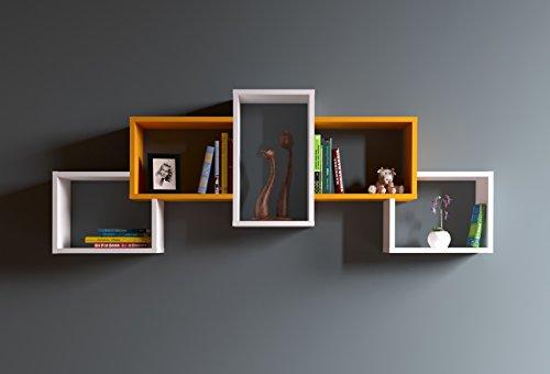 BOLD Mensola da muro - Mensola Parete - Mensola Libreria - Scaffale pensile per studio / soggiorno in Design moderno (Bianco / Arancione)