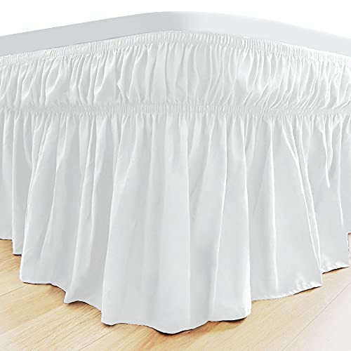 Aemilas Elastic Wrinkle Bed Skirts for Adjustable Bed Super Soft Microfiber Tailored Wrap Around Dust Ruffle for Queen Size 14 Inch Drop White