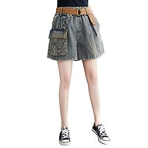 Women's Loose Fit Denim Shorts Elastic Waist Denim Short Pants with Belt