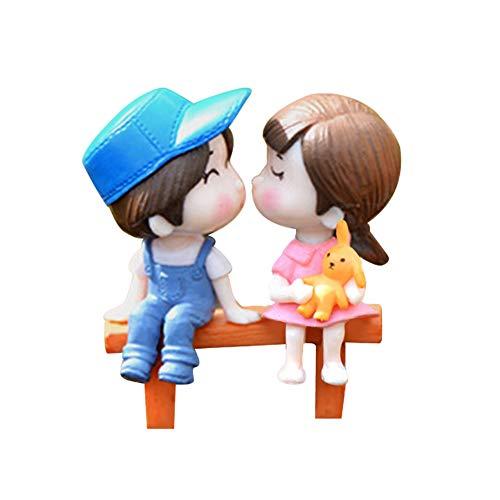 qingsb 3pcs/Set Lovers Sedia in Miniatura Paesaggio DIY Ornamento da Giardino casa delle Bambole Decorazione, Blue + Pink