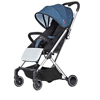 YC electronics Sillas de Paseo El Cochecito de bebé se Puede reclinar Ligero y fácil Portátil Plegable Bebé Empuje de Cuatro Ruedas Sillas Ligeras