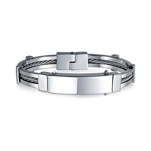 Bling Jewelry Nombre de identificación Placa Cable Enlace ID Brazalete grabable Pulsera para Hombres Pulido Plata Tono Acero Inoxidable
