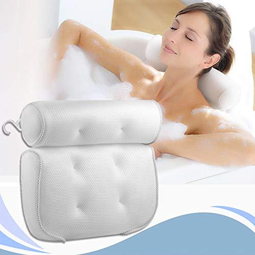 HeTaiDa Badkudde med sugkoppar, andas väl, badkudde med 3D-nät för huvud och nacke, passar alla typer av badkar för hemmabruk, badkars-spa