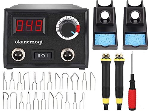 Kit Pirograbador de Madera, Temperatura Regulable, Soldador Profesional para Madera, Cuero, Grabado (60W, 2 bolígrafos,23 puntas de alambre de pirograbado,doble puerto,pantalla digital)