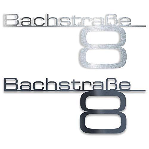 Metzler Design Hausnummernschild Türschild Namensplakette aus Edelstahl - mit Wunsch-Schriftzug Straßenname Hausnummer oder Name - Firmen-Schild - Anthrazit RAL 7016 - Edelstahl poliert (380 mm)