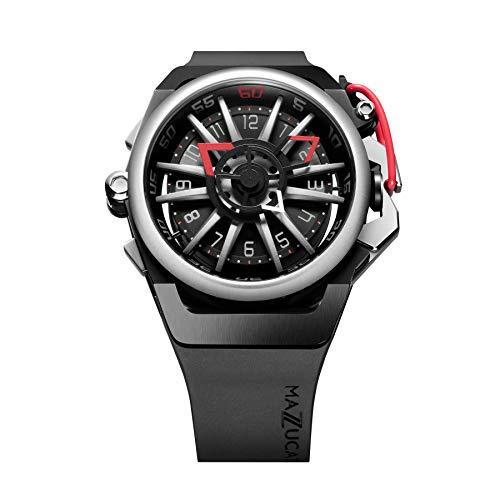 Mazzucato Rim 01-BK186 - Reloj de pulsera para hombre con cronógrafo y correa de goma, color rojo