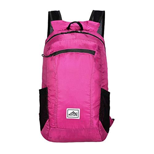 Deloito Damen Mode Daypack Leichte Draussen Sport Rucksäcke Leichter einfacher Faltrucksack Mädchen Reiserucksack Schule Schülerin Schultertaschen (Pink,24 * 16 * 41 cm)
