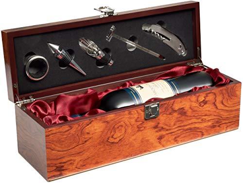 Geschenkset Weinset mit 1 Flasche Rotwein Jahrgang 2008 Marquis de Lugon - in Weinkiste mit Sommelierset