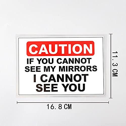PMSMT 2 st bilklistermärken som varnar kan inte se mina speglar varningar för bilar för bil PVC DEKAL 16 8 cm x 11 3 cm - a