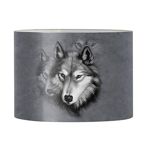 Agroupdream Wolf Lampshade Drum Pendant Table Lamp Desk Bedside Desk Floor Light Cover for Women Men Family Bedroom Dining Room Lounge