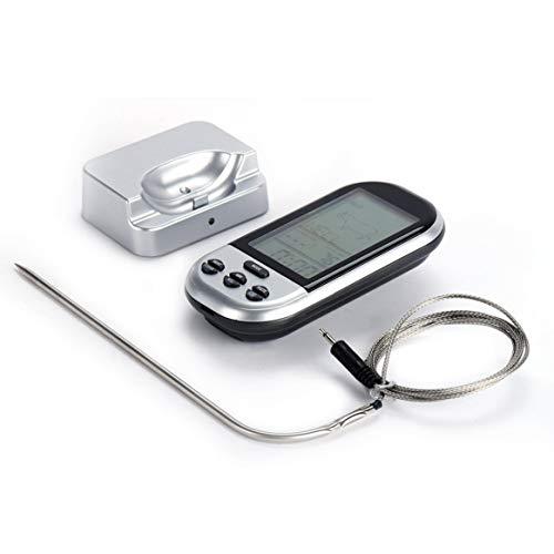 Kongqiabona-UK Digitales Grillthermometer kabellos Küche Ofen Essen Kochen Grill Smoked Fleisch Thermometer mit Sonde und Timer Temperaturalarm silber