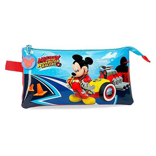 Disney Lets Roll Mickey Estuche Triple Multicolor 22x12x5 cms Poliéster