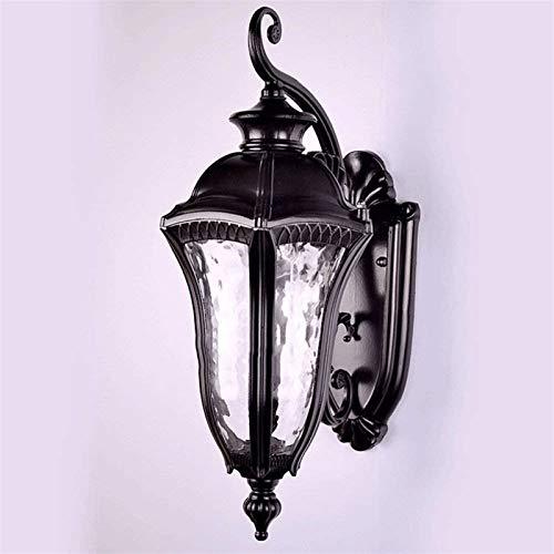 Lámpara de Pared Para Exteriores Luz de la pared exterior accesorios, negro pared exterior de la linterna impermeable Sombra del aplique Porche luces de montaje en pared con el vidrio de agua for la c