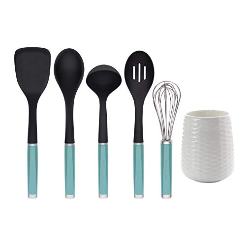 KitchenAid KQ562BXAQA 6-Piece Tool and Gadget Set with Crock, Plastic, Aqua