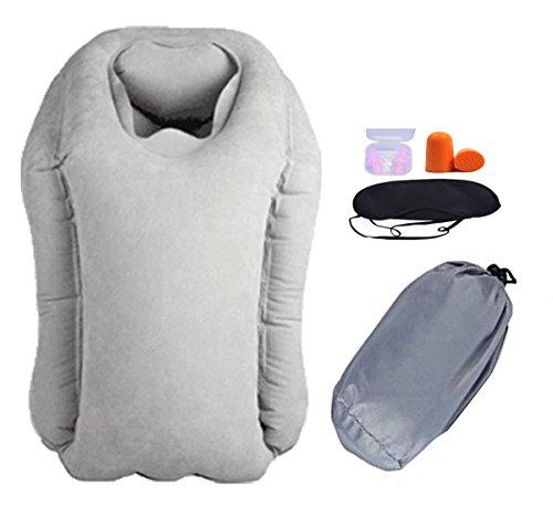 Lememogo cuscino di corsa del cuscino del collo gonfiato Capo Corpo Supporto Nap sonno cuscino per Aereo Bus Chair Car Bed treno 30x35x55 cm con il sacchetto di trasporto (Grigio)