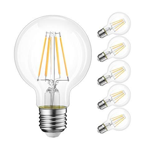 HLIGHT LED Light Ball Bulb Edison Screw Filament A60 Lamp E26 E27 4/6/8W Equivalent 20-80W Clear Incandescent [Energy Class A++] 6PACK,4W E26