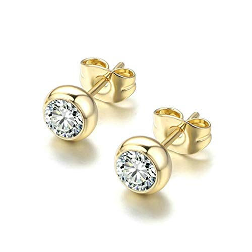 HMYDZ Green Crystal Style Rose Gold Color Stud Earrings Colorful Gift For Women and Men Top (Color : YellowGold Clear)