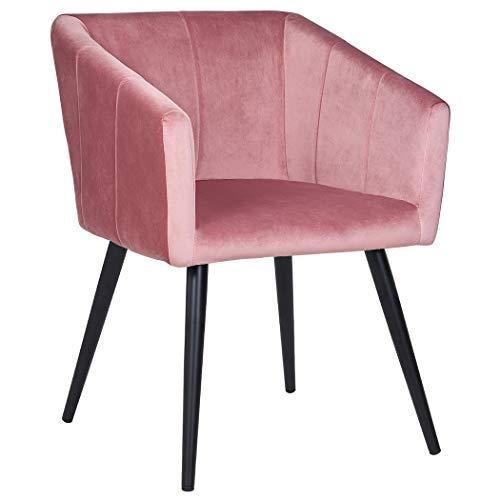 Esszimmerstuhl aus Stoff (Samt) Farbauswahl Retro Design Stuhl mit Rückenlehne Sessel Metallbeine Duhome 8065, Farbe:Pink, Material:Samt