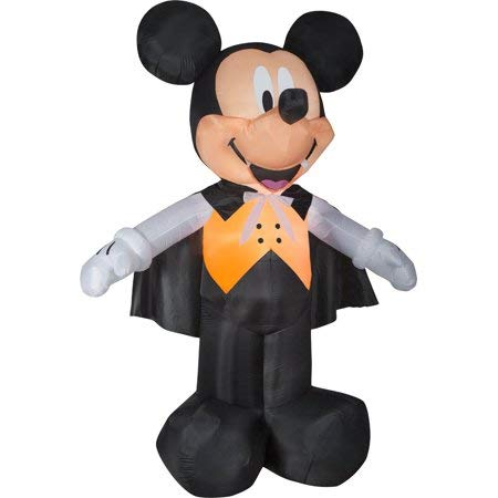 Gemmy Mickey Mouse Airblown Inflatable 6 ft Halloween Dracula Vampire Light Up Yard Decoration