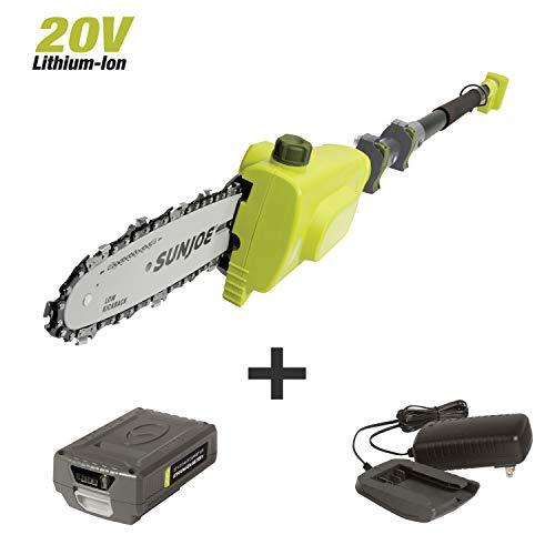 Sun Joe 20VIONLTE-PS8 8-inch Amp 20-Volt Cordless Telescoping Pole Chain Saw, Kit (w/2.0-Ah Battery + Quick Charger)