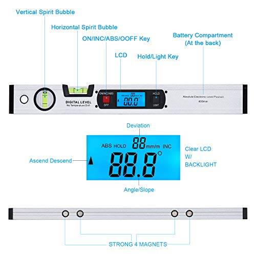 RISEPRO 16-inch Digital Spirit Level and Protractor, Torpedo Level, Inclinometer Angle Gauge Finder Bubbles Magnetic Base with Backlight