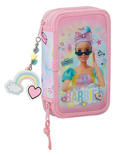 safta 412110854 Estuche Escolar con 28 Útiles Incluidos de Barbie Girl Power, 125x40x195mm, Multicolor