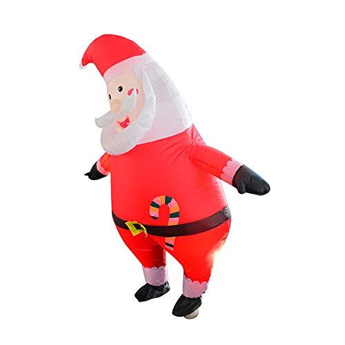 GXZOCK Aufblasbares Weihnachtsmann-Kostüm Weihnachtsanzug-Kleid Aufblasbarer Weihnachtsmann-Overall Rentier-Anzug zum Aufblasen Kostüm für Erwachsene