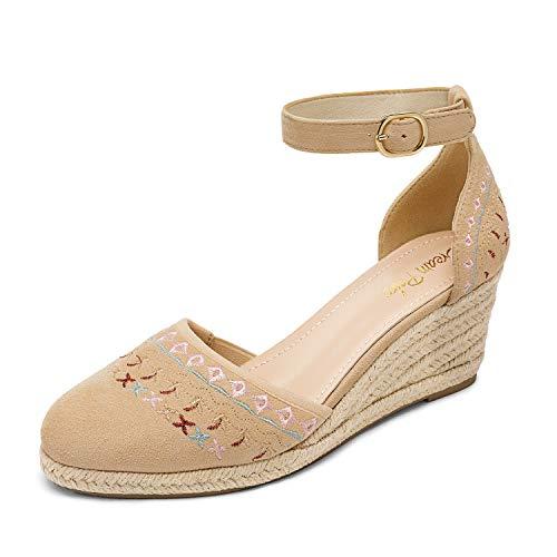 DREAM PAIRS Women's Nude Closed Toe Ankle Strap Espadrilles Wedge Sandals Size 8.5 US Amanda-2