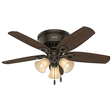 Hunter 51091 42  Builder Low Profile New Ceiling Fan with Light, Bronze
