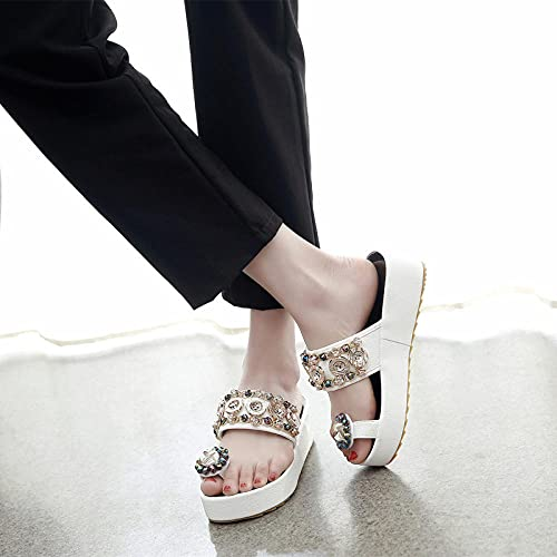 Zapatillas De Casa para Mujer Baratas,Moda De Verano Femenina 2021 Nuevos Zapatos Salvajes, Las Mujeres Usan La Cuesta Abajo De La Parte Inferior De La Casa con Zapatillas De TacóN Alto-UE 38 (24cm /