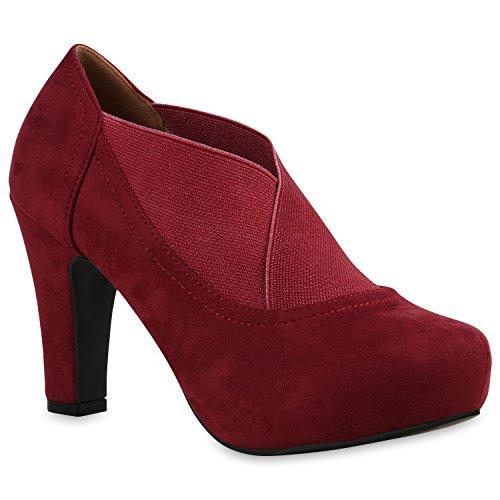 Damen Stiefeletten Ankle Boots Schnürstiefeletten Retro Style Schuhe 138780 Dunkelrot Elastikband 38 Flandell