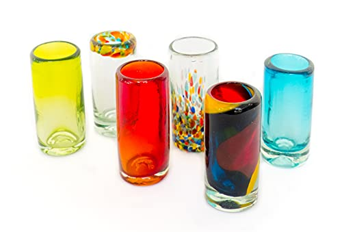 Mexican Tequila Shot Glasses - Set of 6 Large Shot Glasses Pretty Novelty Design Multicolor Recycled...