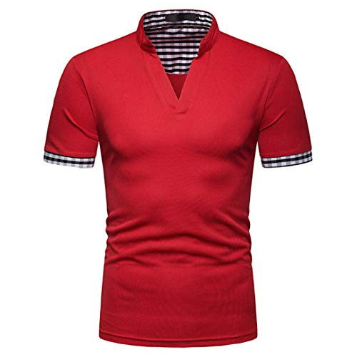 MENHG Men's Short Sleeve Polo Shirts Casual Fashion T-Shirt Slim Fit Unique Plaid Design Solid Color Tennis Golf Shirt Classic Business V-Neck Compression Cotton Comfortable Breathable Tee Tops Red