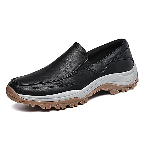 Puxowe Men's Slip On Loafer PU Leather Casual Walking Shoes Fashion Driving Shoes Black Size 8
