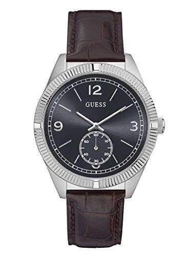 Guess Herren Analog Quarz Uhr mit Leder Armband W0873G1