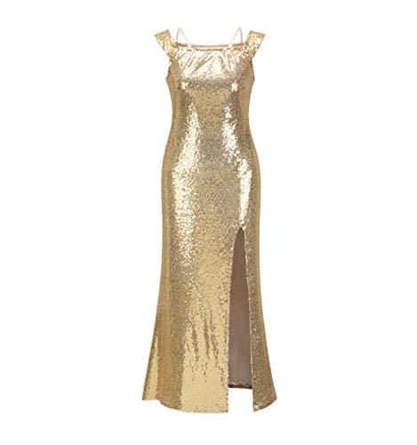 GL SUIT vrouwen Maxi mouwloze jurken glitter pailletten hoogte geschilderd goud-avondjurk feest-cocktail potloodjurken