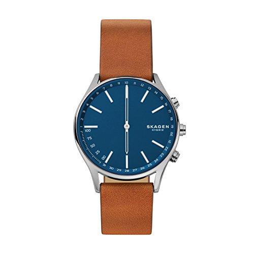 Skagen Connected Men's Holst Titanium and Leather Hybrid Smartwatch, Color: Grey, Brown (Model: SKT1306)