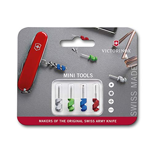 Victorinox Unisex– Erwachsene Mini Tools Set 4-teilig, Flach, Phillips 000, und Torx T4 Schraubenzieher, SIM-Card Stecker, rot, blau, grün, grau, 29mm