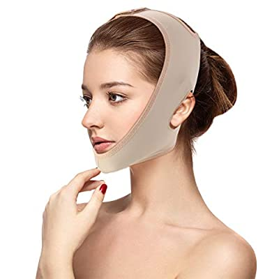 Face Slimming Mask, Face Lifting Slimming Belt V Face Cheek Lifting Chin Face Lifting Mask, Natural Face Lift Against Double Chin Anti-Aging & Face Slimming Face Bandage(L)