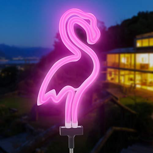 puliao Solarleuchte Garten für Außen Flamingo Solarlampe Gartenlampen, Flamingo Neon-Leuchte 6 LED mit Solar-Panel Dekoration Licht Im Freien wasserdichte Rasen Lampe für Balkon, Terasse