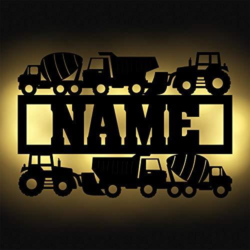 Auf der Baustelle Geschenke I Lkw Bagger Kipplaster Fahrzeug Led Lampe Dekoration Schild für Kinder mit Name und optional mit Farbe