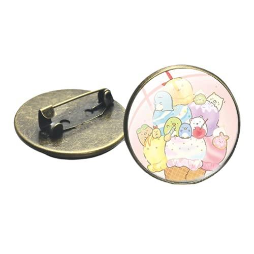 Broches japoneses de dibujos animados Sumikko Gurashi para bolsa ropa insignias kawaii animales camisa solapa Pin arte foto cristal cabujón joyería