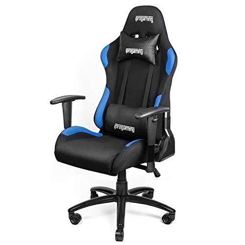 iProgaming | Gaming Stuhl | Liegefunktion | Bezug aus Stoff in Schwarz-Blau | Belastbarkeit bis zu 200 kg | Wippfunktion | Racer Style | als Computerstuhl und Bürostuhl geeignet