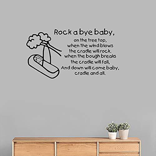 Rock a bye bébé sticker mural berceuse autocollant disant citation vinyle décoration décoration pour la maison chambre