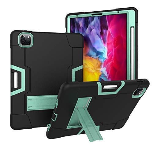 A-BEAUTY - Funda para iPad Pro 12.9 (2020/2018), iPad Pro de 12,9 pulgadas 4ª y 3ª generación, con protector de pantalla, lápiz capacitivo, soporte para lápiz, color negro y verde menta