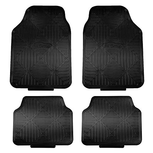 FH Group F14410BLACK Metallic Finish Rubber Backing Floor Mats (Black) Full Set – Universal Fit for Most Cars Trucks & SUVs