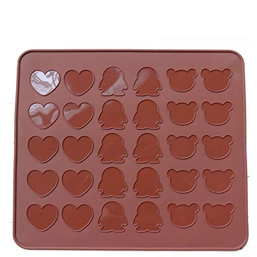 Fewear Silicone Chocolate Mold Macaron Mat Moulds Pans Large Platinum Silicone Pad Baking Tools Bakeware Love Heart Penguin Bear