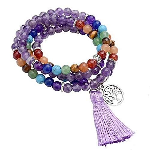 Amery house 6mm Pulsera Mala Budista 108 Beads Collar Pulseras de Cuentas de Piedra 7 Chakras Piedra Natural meditación Budista tibetana Colgante de árbol de la Vida Charms Mujer Brazalete (Morado)